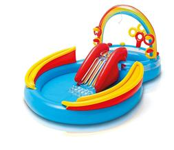 Plastic Summer Swimming Pool Rainbow Ring Inflatable Play Ce