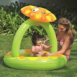 Pool Central 39IN Inflatable Baby Pool with Adjustable Sunfl