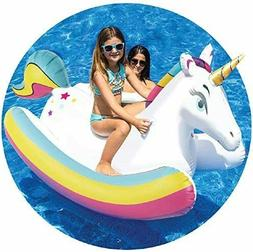 Pool Float Unicorn Inflatable Rocking  ride on water beach