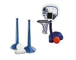 SwimWays Poolside Basketball Hoop with Ball + Volleyball Gam