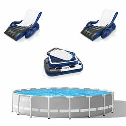Intex Prism Frame Above Ground Pool w/ Inflatable Lounger  a