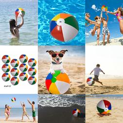 Pack 12 Inflatable Plastic Rainbow Color Balls For Beach Swi