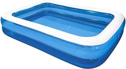 Jilong Rectangular Family Inflatable Pool for Ages 6+, Blue,