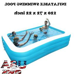 """Sable Inflatable Swimming Pool 120"""" x 72"""" x 25"""" Giant Family"""