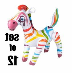 "24"" Cute Rainbow Zebra Inflatable  Inflate Blow Toy Party D"