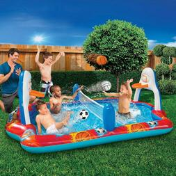 Sports Arena Splash Pool - Inflatable Pool with 3 Balls - Ba