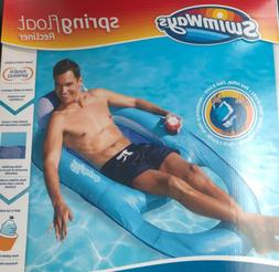 Swimways Spring Float Recliner, Light Blue/Dark Blue