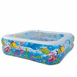"""57"""" Square Sea Life Themed Inflatable Children's Swimming Po"""