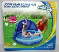 Summer Escapes Sun Shade Baby Pool with Inflatable Floor