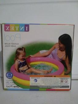 "INTEX SUNSET GLOW BABY POOL 34"" X 10""   Ages 1-3 Inflata"