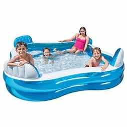 "intex swim center family lounge inflatable pool, 90"" x 90"" x"