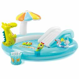 Swimming Pool w/ Slide Inflatable Play Center for Kids Gator