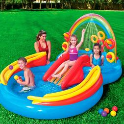Swimming Pool w/ Slide Inflatable Play Center for Kids Rainb