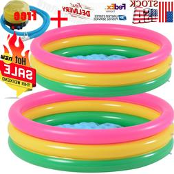Three Ring Rainbow Inflatable Kiddie Pool Ball Pool Family K