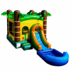 Commercial Inflatable Wet Dry Slide With Pool Tropical Bounc