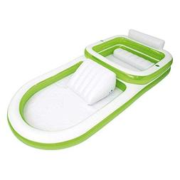 Two-In-One Family Pool With Slide, Green/White