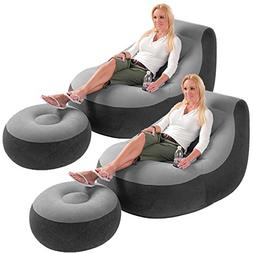 2 Pack Intex Ultra Lounge Inflatable Chair w/ Ottoman Sofa D