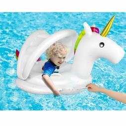 Unicorn Baby Pool Float with Canopy - Inflatable Swimming Po