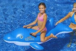 "61"" Water Sports Inflatable Ride-On Blue Dolphin Swimming Po"