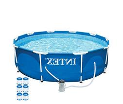 "Intex 10' x 30"" Metal Frame Set Swimming Pool with 330 GPH P"