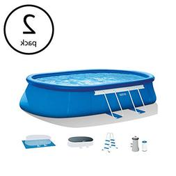 "Intex 18' x 10' x 42"" Oval Frame Inflatable Swimming Pool Se"